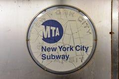MTA New York City Subway. Brooklyn, New York - March 24, 2017: MTA New York City subway logo on the exterior of a train car Royalty Free Stock Images