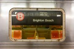 MTA New York City Subway. Brooklyn, New York - March 24, 2017: New York City subway train traveling between Brighton Beach, Brooklyn and Harlem 145 St, Manhattan Stock Image