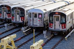 MTA subway car depot royalty free stock images