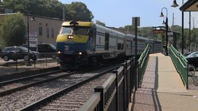 MTA train leaving depot (1 of 2). A view or scene of Transportion stock video footage