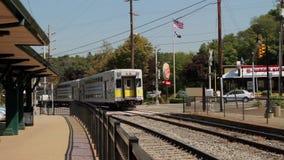 MTA train leaving depot (2 of 2) stock video