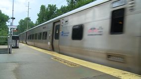 MTA train leaving station. A view or scene of Transportion stock video