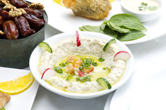Mtabbal plate  on white , Lebanese food Royalty Free Stock Images
