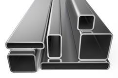Métal roulé, assortiment des tuyaux carrés Images stock