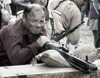 Mtarfa Mayor fires an MG42 Royalty Free Stock Image