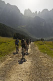 Mtb on alps. A nice view of some people biking on italian alps Stock Images