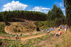 MTB Amphithearter Challenge. The Challenge at the amphitheater obstacles for cycling competitors Wide Angle photo image of the mtb cycling X country action Stock Images