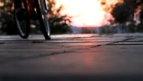 MTB, bike, street, boy practicing to do stunts stock footage