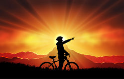Mtb biker silhouette. Mountain bike sport and activity stock illustration