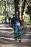 MTB dirt jam. Biker riding is bike at dirt jump park Stock Images