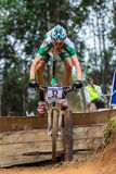 MTB Male Cyclist Flight Royalty Free Stock Photo