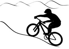 MTB rider. Vector graphics illustration. Mountain bike rider riding uphill Stock Images