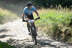 MTB rider. Bystrice p.Hostynem 01/AUG/2015 _ Unknown mountain bike rider royalty free stock photos