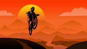 Free MTB Rider Jump Sunset In Mountains View Background  Flat Style Illustration Vector Royalty Free Stock Photo - 202067495