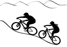 MTB rider pair. Vector graphics illustration. Girl and boy riding uphill royalty free illustration