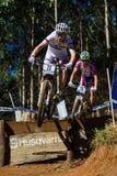 MTB Riders Race Ramp Flight Royalty Free Stock Images