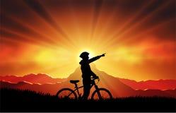 Mtb rowerzysty sylwetka ilustracji