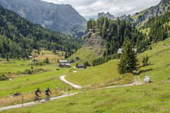 MTBiking in in Val di Fassa. MTBiking is not all about speed, adrenaline and crazy descents, sometimes you just need time to relax, enjoy the easy ride and the Royalty Free Stock Images