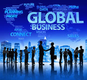 Möte för global affär på natten Arkivbild
