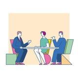Möte förhandlar på tabellen Arkivfoto