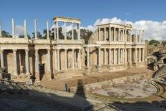 MThe Roman Theatre van Merida is een bouw die door de consul Vipsanius Agrippa wordt bevorderd royalty-vrije stock afbeeldingen