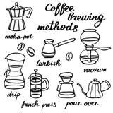 Méthodes de brassage de café réglées Fabricants de café tirés par la main de bande dessinée Dessin de griffonnage Photos stock
