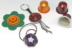 Métiers de DIY faits avec des capsules d'expresso Photographie stock libre de droits