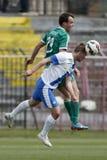MTK contra Partido de fútbol de la liga del banco de Gyor OTP Fotos de archivo