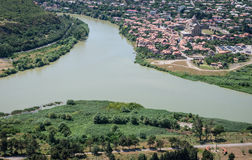 Mtkvari and Aragvi rivers Stock Image