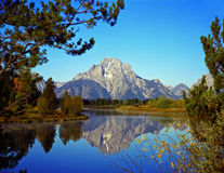 MtMoran&SnakeRiver#2. The Oxbow Bend of the Snake River and Mt. Moran in Grand Teton National Park, Wyoming Royalty Free Stock Photos