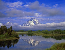 MtMoran&SnakeRiver#3. The Oxbow Bend of the Snake River and Mt. Moran in Grand Teton National Park, Wyoming Royalty Free Stock Image