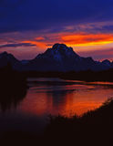 MtMoran&SnakeRiver#7. The Oxbow Bend of the Snake River and Mt. Moran, in Grand Teton National Park, Wyoming, photographed at sunset Stock Image