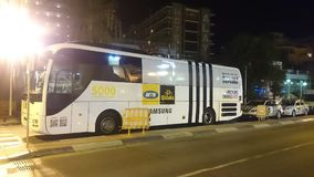 MTN Qhubeka bicycle team bus at the hotel. Vuelta España near Malaga Royalty Free Stock Photo