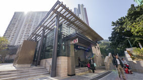 MTR Kennedy Town Exit C - l'estensione della linea dell'isola al distretto occidentale, Hong Kong Fotografia Stock Libera da Diritti
