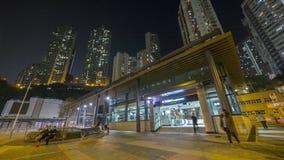 MTR Kennedy Town nachts - die Ausdehnung der Insel-Linie zum Westbezirk, Hong Kong Lizenzfreie Stockfotos