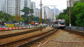 Mtr light rail transit lrt train at tuen mun hong kong stock footage