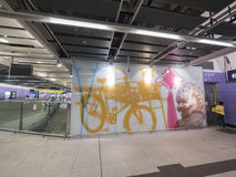MTR Sai Ying Pun station artwork - The extension of Island Line to Western District, Hong Kong. The extension of Island Line to Western District of Hong Kong MTR Stock Photography