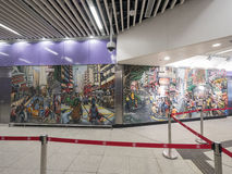 MTR Sai Ying Pun station artwork - The extension of Island Line to Western District, Hong Kong. The extension of Island Line to Western District of Hong Kong MTR Royalty Free Stock Photography