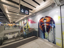 MTR Sai Ying Pun station artwork - The extension of Island Line to Western District, Hong Kong Royalty Free Stock Images