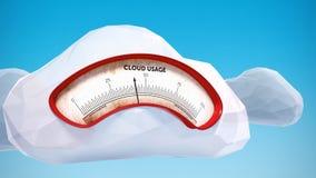 Mètre de calcul de données d'utilisation de nuage Photo stock