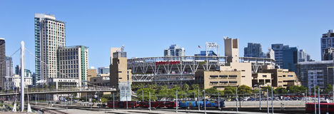 A MTS Trolley Races Past Petco Park in San Diego Royalty Free Stock Image