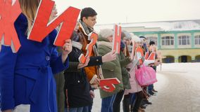 Mtsensk, Russia 20 Dec 2016. EDITORIAL - campaign life without abortion, the volunteers marching on the Central square