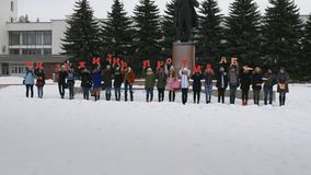 Mtsensk, Russia 20 Dec 2016. EDITORIAL - a life without abortion volunteers marching on the Central square of Mtsensk
