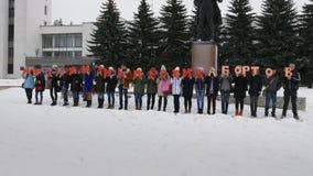 Mtsensk, Russia 20 dicembre 2016 EDITORIALE - una vita senza aborto si offre volontariamente la marcia sul quadrato centrale di M stock footage