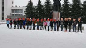 Mtsensk, Russie le 20 décembre 2016 ÉDITORIAL - une vie sans avortement offre la marche sur la place centrale de Mtsensk banque de vidéos