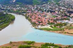 Mtskheta, Γεωργία και ποταμοί Mtkvari και Aragvi Στοκ Φωτογραφία
