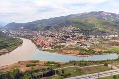 Mtskheta, Γεωργία και ποταμοί Mtkvari και Aragvi Στοκ Εικόνες