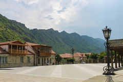 Mtskheta the central square on the background of a mountain range Royalty Free Stock Image