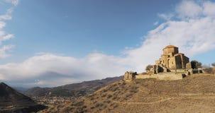 Mtskheta, Georgia Jvari, грузинский правоверный монастырь, всемирное наследие ЮНЕСКО стародедовский висок сток-видео