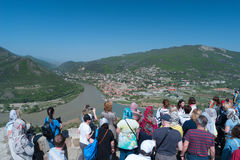 Mtskheta, Georgia - MAY 01, 2017: Tourists on the observation de Royalty Free Stock Images